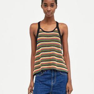 8dbfa43c51eb06 Zara Tops - Jamaican Multicolored Striped Crochet Knit Top